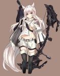 >:( 1girl animal_ears arknights arm_up arrow bangs black_gloves black_legwear blush boots bow_(weapon) brown_background brown_eyes cropped_legs eyebrows_visible_through_hair gloves groin high_collar highres holding holding_bow_(weapon) holding_weapon jsscj large_tail long_hair long_sleeves looking_at_viewer midriff multicolored_hair platinum_(arknights) quiver redhead shirt short_shorts shorts silver_hair simple_background solo standing streaked_hair tail thigh-highs thigh_boots thighs v-shaped_eyebrows weapon white_shirt white_shorts wide_sleeves