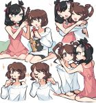 2girls :d black_hair blue_eyes brown_eyes brown_hair charamells commentary dress english_commentary eye_contact eyelashes flat_chest highres hug long_hair looking_at_another mary_(pokemon) multiple_girls open_mouth pink_dress pokemon pokemon_(game) pokemon_swsh short_dress short_hair simple_background sitting smile sparkle white_background white_dress yuuri_(pokemon)