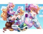 1girl alternate_costume black_legwear blonde_hair blue_earrings blue_eyes boots calilo commentary crossed_ankles english_commentary gloves goomba gun handgun helmet highres koopa_troopa long_hair nose one_eye_closed piranha_plant pistol popped_collar princess_peach socks solo super_sentai unitard visor weapon white_gloves