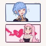 2girls artist_name blue_hair braid closed_eyes closed_mouth crown_braid do_m_kaeru fire_emblem fire_emblem:_three_houses garreg_mach_monastery_uniform hilda_valentine_goneril long_hair marianne_von_edmund multiple_girls open_mouth pink_eyes pink_hair simple_background twintails uniform upper_body yuri