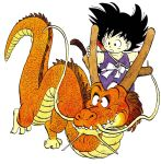 1boy :o animal black_eyes black_hair collarbone commentary dougi dragon dragon_ball dragon_ball_(classic) dragon_riding english_commentary expressionless fingernails floating_hair flying full_body grabbing highres horn_grab horns looking_afar looking_away male_focus messy_hair monkey_tail nyoibo official_art open_mouth red_eyes riding sharp_teeth simple_background son_gokuu spiky_hair standing tail teeth toriyama_akira whiskers white_background