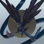 bird bird_focus character_name commentary_request corviknight corvisquire creature flying full_body gen_8_pokemon grey_background highres jyunhh no_humans pokemon pokemon_(creature) rookidee signature simple_background