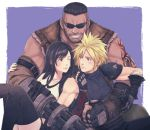 1girl 2boys arm_cannon arm_guards arm_tattoo barret_wallace beard black_hair black_legwear blonde_hair brown_eyes cloud_strife dark_skin dark_skinned_male facial_hair final_fantasy final_fantasy_vii final_fantasy_vii_remake gloves group_hug hug looking_at_another multiple_boys shoulder_armor sleeveless sleeveless_turtleneck spiky_hair suspenders sweatdrop tattoo thigh-highs tifa_lockhart turtleneck weapon yuuri_(yuri83)