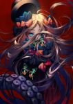 1girl abigail_williams_(fate/grand_order) bangs black_bow black_dress black_headwear blonde_hair blue_eyes bow breasts bug butterfly dress fate/grand_order fate_(series) forehead hair_bow hat highres insect long_hair multiple_bows orange_bow parted_bangs red_background ribbed_dress sleeves_past_fingers sleeves_past_wrists small_breasts solo tenobe tentacles