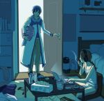 1boy 1girl basket bed bedroom blue_hair blue_scarf cabinet chair cigarette clothes coat commentary computer headset holding holding_basket holding_cigarette indoors kaito laptop master_(vocaloid) nokuhashi opening_door pants pillow ramen scarf sitting smile smoking standing sweat table tank_top tissue_box vocaloid white_coat wooden_floor