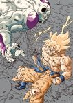 2boys abs anger_vein angry blonde_hair blood blood_on_face blue_footwear boots clenched_hands clenched_teeth clouds cloudy_sky collarbone destruction dirty dirty_clothes dirty_face dougi dragon_ball dragon_ball_z dust dutch_angle electricity fingernails floating_rock flying frieza from_above frown green_eyes grey_background grin highres lee_(dragon_garou) lightning lightning_bolt looking_at_another looking_down male_focus monochrome mountain multiple_boys muscle nipples open_mouth partially_colored pectorals profile red_eyes rock shaded_face shirt simple_background sky smile son_gokuu spiky_hair super_saiyan teeth torn_clothes torn_legwear torn_shirt v-shaped_eyebrows veins wristband
