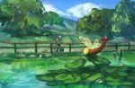 1boy blue_sky creature day fence fisherman_(pokemon) fishing fishing_rod flying gen_2_pokemon gen_3_pokemon holding holding_fishing_rod lotad outdoors pokemon pokemon_(creature) pokemon_(game) pokemon_oras ponimu sky tree water yanma