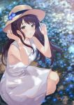 1girl arms_up bangs bare_arms bare_shoulders black_hair blue_flower blush brown_headwear dress eyebrows_visible_through_hair flower from_above haru_(hiyori-kohal) hat hat_flower highres looking_at_viewer looking_up original parted_lips sleeveless sleeveless_dress solo squatting sun_hat sundress swept_bangs white_dress yellow_eyes