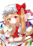 1girl ankle_socks bangs blonde_hair blush commentary expressionless eyebrows_visible_through_hair flandre_scarlet hat hat_ribbon holding holding_stuffed_animal leg_lift looking_at_viewer lying mary_janes mob_cap on_bed on_stomach one_side_up petticoat pointy_ears puffy_short_sleeves puffy_sleeves red_eyes red_footwear red_skirt red_vest ribbon sakipsakip shirt shoes short_sleeves simple_background skirt solo stuffed_animal stuffed_toy teddy_bear touhou twitter_username vest white_background white_headwear white_legwear white_shirt wings wrist_cuffs