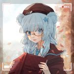 1girl animal_ears arknights bangs bear_ears beret blue_eyes blue_hair blue_neckwear book brown_headwear brown_jacket chinese_commentary commentary_request eyebrows_visible_through_hair hair_ornament hat highres holding holding_book istina_(arknights) jacket long_hair looking_at_viewer monocle shirt smile solo star star_hair_ornament upper_body white_shirt ya_kexi