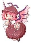 1girl ;d bangs black_footwear blush brown_dress brown_hair brown_headwear collared_dress dress eyebrows_visible_through_hair fang feathered_wings full_body highres juliet_sleeves long_sleeves mystia_lorelei naga_u one_eye_closed open_mouth pink_hair pink_wings puffy_sleeves shirt shoes sleeveless sleeveless_dress smile solo touhou white_background white_shirt winged_hat wings