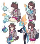 1girl black_eyes brown_eyes cardigan charamells commentary drizzile english_commentary eyelashes gen_8_pokemon green_headwear highres holding holding_pokemon inteleon looking_at_viewer multiple_views on_lap pokemon pokemon_(creature) pokemon_on_lap shoes short_hair simple_background sitting sobble standing white_background yellow_eyes yuuri_(pokemon)