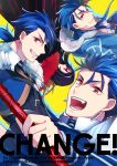 4boys :d bberry black_cape blue_hair buckle cape cover cover_page cu_chulainn_(fate)_(all) cu_chulainn_(fate/grand_order) cu_chulainn_(fate/prototype) cu_chulainn_alter_(fate/grand_order) doujin_cover earrings facial_mark fate/grand_order fate/prototype fate_(series) gae_bolg grin hair_strand hood jewelry lancer long_hair looking_at_viewer male_focus multiple_boys open_mouth red_eyes simple_background smile tattoo upside-down yellow_background