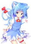 1girl animal_ear_fluff animal_ears arms_behind_back blue_eyes blue_skirt blue_vest blush bow bowtie cat_ears cat_tail cirno contrapposto cowboy_shot eyebrows_visible_through_hair garters heart highres kemonomimi_mode kuraaken looking_at_viewer neck_bell puffy_short_sleeves puffy_sleeves red_neckwear ribbon shirt short_sleeves simple_background skirt solo standing tail tail_ribbon touhou vest white_background white_shirt wings wrist_cuffs