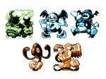 commentary creature english_commentary full_body galarian_form galarian_mr._mime galarian_weezing galarian_yamask gen_8_pokemon mr._rime multiple_monochrome no_humans pat_attackerman pixel_art pokemon pokemon_(creature) runerigus simple_background smile standing white_background