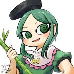 1girl al_bhed_eyes avatar_icon bamboo bow chamaji commentary dress eyebrows_visible_through_hair frilled_shirt_collar frills green_dress green_hair hat holding_bamboo_shoot looking_at_viewer lowres short_hair short_hair_with_long_locks short_sleeves signature solo tate_eboshi teireida_mai touhou upper_body white_background yellow_bow