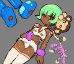 1girl animal bare_arms bare_shoulders boots bracelet breasts closed_mouth dakusuta dark_skin data_(rockman_dash) green_hair jewelry looking_at_viewer monkey panties pantyshot red_eyes rock_volnutt rockman rockman_dash sera_(rockman_dash) short_hair sidelocks simple_background sketch small_breasts thigh-highs underwear upskirt white_legwear zettai_ryouiki