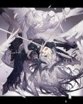 1girl arknights arms_up black_gloves blue_eyes broken crack fur_trim gloves holding holding_another holding_hands holding_sword holding_weapon krab lappland_(arknights) long_hair shards silver_hair smile statue sword teeth tongue torn_clothes twitter_username upper_teeth weapon wings