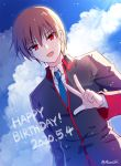 1boy :d bangs black_jacket blue_neckwear blue_sky brown_hair clouds cloudy_sky collared_jacket collared_shirt commentary_request dated day eyebrows_visible_through_hair hair_between_eyes happy_birthday jacket little_busters! long_sleeves looking_at_viewer male_focus mauve natsume_kyousuke necktie open_mouth outdoors red_eyes school_uniform shirt sky smile solo twitter_username upper_body w white_shirt