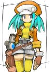 1girl alternate_color blue_eyes breasts cabbie_hat closed_mouth commentary_request dakusuta fingerless_gloves gloves hat highres jacket looking_at_viewer rockman rockman_dash roll_caskett shorts simple_background solo thigh-highs