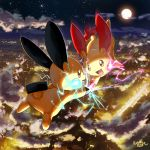2019 city clouds cloudy_sky commentary_request electricity eye_contact falling full_body gen_3_pokemon happy highres ko-yuki-chan looking_at_another minun night night_sky no_humans plusle pokemon pokemon_(creature) scenery signature sky