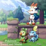 :d blue_sky closed_mouth clouds cloudy_sky commentary copyright_name creature dated day english_commentary full_body gen_8_pokemon grookey highres kivwolf lake no_humans open_mouth outdoors pokemon pokemon_(creature) scorbunny signature sitting sky smile sobble standing tree water