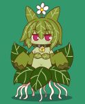 1girl alraune animal_ears bangs bare_shoulders bell bell_collar blush collar commentary_request detached_sleeves eyebrows_visible_through_hair flower full_body green_background green_collar green_hair green_skin green_sleeves hair_between_eyes hair_flower hair_ornament jingle_bell kemomimi-chan_(naga_u) leaf_bikini long_sleeves looking_at_viewer monster_girl monsterification naga_u navel original plant_girl red_eyes sleeves_past_fingers sleeves_past_wrists solo white_flower