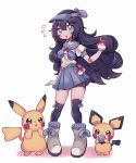1girl :o black_hair black_legwear blue_eyes blue_skirt blush clarevoir commentary commission creature english_commentary eyelashes flat_chest full_body gen_1_pokemon gen_2_pokemon hair_between_eyes holding holding_poke_ball long_hair looking_at_viewer original pichu pikachu poke_ball pokemon pokemon_(creature) shadow shoes simple_background skirt white_background