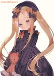 1girl abigail_williams_(fate/grand_order) alternate_hairstyle bangs black_bow black_dress black_headwear blonde_hair blue_eyes blush bow breasts closed_mouth dress fate/grand_order fate_(series) forehead hair_bow hat long_hair looking_at_viewer multiple_bows orange_bow parted_bangs polka_dot polka_dot_bow ribbed_dress sidelocks simple_background sleeves_past_fingers sleeves_past_wrists small_breasts smile solo stuffed_animal stuffed_toy suzuho_hotaru teddy_bear twintails white_background
