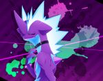 commentary_request creature gen_8_pokemon horn kurosiro no_humans pokemon pokemon_(creature) purple_background purple_theme solo striped striped_background toxtricity toxtricity_(low_key) upper_body