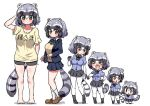 >_< 1girl adapted_costume alternate_costume animal_ears bare_legs barefoot beige_sweater black_neckwear black_skirt blue_hair blue_neckwear blue_sweater blush bow bowtie brown_eyes chibi child commentary_request common_raccoon_(kemono_friends) elbow_gloves eyebrows_visible_through_hair fang fur_collar gloves grey_hair highres holding_hands kemono_friends loafers long_sleeves multicolored_hair multiple_views navy_blue_jacket navy_blue_skirt ngetyan open_mouth pantyhose plaid_neckwear pleated_skirt puffy_short_sleeves puffy_sleeves raccoon_ears raccoon_girl raccoon_tail school_uniform shirt shoes short_hair short_shorts short_sleeves shorts skirt socks sweater t-shirt tail translation_request white_hair white_legwear younger