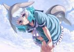 1girl blue_eyes blue_hair blue_sky blush bracelet closed_mouth clouds collarbone common_bottlenose_dolphin_(kemono_friends) day dolphin_tail eyebrows_visible_through_hair grey_hair hands_on_own_knees highres jewelry kemono_friends kosai_takayuki leaning_forward looking_at_viewer outdoors short_hair short_sleeves sky smile solo wavy_hair white_hair white_neckwear