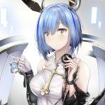 +_+ 1girl azur_lane bare_shoulders black_sleeves blouse blue_hair breasts cross cross_necklace detached_sleeves eyebrows_visible_through_hair fleur_de_lis floating_headgear gascogne_(azur_lane) gascogne_(muse)_(azur_lane) highres holding holding_microphone jewelry keychain looking_at_viewer medium_breasts medium_hair microphone necklace sleeveless_blouse white_blouse xevxt yellow_eyes
