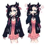 1girl black_hair black_nails blue_eyes charamells commentary english_commentary eyelashes flat_chest frown highres looking_at_viewer mary_(pokemon) multiple_views pokemon pokemon_(game) pokemon_swsh simple_background upper_body white_background