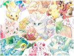 :3 :d ^_^ absurdres alcremie alcremie_(strawberry_sweet) alcremie_(vanilla_cream) alternate_color balloon brown_eyes cherubi closed_eyes commentary_request creature dedenne eldegoss flower food frosmoth fruit gen_1_pokemon gen_3_pokemon gen_4_pokemon gen_5_pokemon gen_6_pokemon gen_7_pokemon gen_8_pokemon gracidea happy hatenna hattrem highres latias legendary_pokemon looking_at_viewer morpeko morpeko_(full) no_humans non-kumakawayusu4620 on_head open_mouth orange pachirisu pikachu pokemon pokemon_(creature) rabbit scorbunny shaymin shaymin_(land) shiny_pokemon smile snivy togedemaru traditional_media violet_eyes watercolor_(medium)