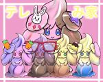 :3 :d alcremie alcremie_(other_cream) alcremie_(other_sweet) carrot closed_mouth commentary_request creature crescent gen_8_pokemon glasses heterochromia highres looking_at_viewer no_humans open_mouth pink_background pokemon pokemon_(creature) simple_background smile standing tom-radio