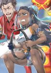 1boy 1girl absurdres armlet blue_eyes breasts centiskorch clenched_teeth dark_skin earrings exercise flaming_eyes gen_8_pokemon highres hoop_earrings jewelry kabu_(pokemon) long_hair medium_breasts midriff motion_blur moto_toshi multicolored_hair pendant pokemon pokemon_(game) pokemon_swsh ring-con ring_fit_adventure rurina_(pokemon) shorts sweat teeth towel towel_around_neck two-tone_hair