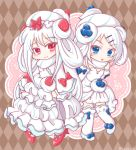 2girls alcremie alcremie_(berry_sweet) alcremie_(salted_cream) alcremie_(strawberry_sweet) argyle argyle_background blue_eyes brown_background commentary_request full_body gen_8_pokemon kirin_(kanata_walk) long_hair looking_at_viewer multiple_girls pokemon red_eyes standing white_theme