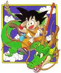 1boy :d absurdres animal arm_at_side bag black_eyes black_footwear black_hair blue_eyes blue_sky border clouds cloudy_sky collarbone commentary dougi dragon dragon_ball dragon_ball_(classic) dragon_riding english_commentary fingernails flying full_body hand_on_own_face hand_up happy highres holding holding_weapon horns looking_afar looking_away male_focus monkey_tail nyoibo official_art open_mouth outside_border riding shaded_face sharp_teeth shenlong_(dragon_ball) simple_background sky smile son_gokuu spiky_hair tail teeth toriyama_akira weapon whiskers white_background wristband yellow_border