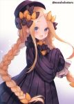 1girl abigail_williams_(fate/grand_order) alternate_hairstyle bangs black_bow black_dress black_headwear blonde_hair blue_eyes blush bow braid breasts dress fate/grand_order fate_(series) forehead hair_bow hat long_hair looking_at_viewer multiple_bows open_mouth orange_bow parted_bangs polka_dot polka_dot_bow ribbed_dress sidelocks sleeves_past_fingers sleeves_past_wrists small_breasts smile solo suzuho_hotaru twin_braids
