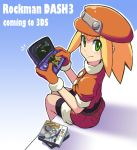 1girl bike_shorts blonde_hair brown_gloves cabbie_hat closed_mouth english_text gloves green_eyes handheld_game_console hat jacket long_hair looking_at_viewer nintendo_3ds red_headwear red_shorts rockman rockman_dash roll_caskett short_sleeves shorts smile solo yuusuke_(5yusuke3)