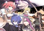 1boy 3girls ahoge amano_yuu aqua_eyes bag bangs bare_shoulders blonde_hair blue_eyes blue_hair blush bow_(weapon) chestnut_mouth closed_mouth copyright_request earrings elf fingerless_gloves gloves hair_between_eyes hair_ornament hair_over_one_eye highres holding holding_bow_(weapon) holding_staff holding_sword holding_weapon jewelry long_hair long_sleeves looking_away low_twintails monster multiple_girls multiple_views navel novel_illustration official_art one_knee open_mouth pink_hair pointy_ears shield short_hair short_twintails shoulder_bag sidelocks skirt sleeveless sleeves_past_wrists smile staff sword twintails v-shaped_eyebrows very_long_hair violet_eyes weapon white_skirt