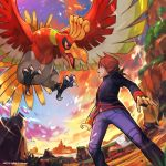 1boy bangs bird bird_focus black_jacket blue_pants claws clouds creature flying gen_2_pokemon hankuri highres ho-oh jacket legendary_pokemon long_hair long_sleeves open_mouth outdoors pants pokemon pokemon_(creature) pokemon_(game) pokemon_masters profile red_eyes redhead silver_(pokemon) sky solo standing swept_bangs