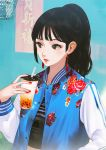 1girl bangs black_hair brown_eyes bubble_tea commentary_request crop_top cup disposable_cup drinking_straw ekao eyelashes flat_chest floral_print jacket letterman_jacket lipstick long_hair makeup mascara nail_polish nose original ponytail red_earrings red_nails solo sukajan