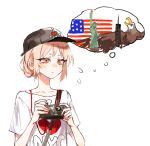 1girl :t american_flag bald_eagle baseball_cap bird buttoniris camera closed_mouth clothes_writing commentary eagle english_commentary english_text hair_bun hat heart heart_print highres holding i_heart... original pink_eyes pink_hair shirt simple_background solo statue_of_liberty t-shirt thought_bubble two_(buttoniris) white_background white_shirt