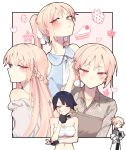2girls :t alternate_hairstyle bare_shoulders blush bow braid breasts buttoniris closed_mouth commentary cup english_commentary food french_braid fruit hair_bow half-closed_eyes highres holding jitome large_breasts long_hair long_sleeves looking_at_viewer multiple_girls off-shoulder_coat original pink_hair ponytail red_eyes sarashi short_hair strawberry strawberry_shortcake teacup tray two_(buttoniris) white_bow wing_collar
