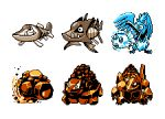 arrokuda barraskewda bird carkol coalossal commentary cramorant creature english_commentary fish full_body gen_1_pokemon gen_8_pokemon goldeen horn multiple_monochrome no_humans pat_attackerman pixel_art pokemon pokemon_(creature) rolycoly sprite
