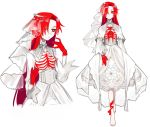 1girl barefoot bride bright_pupils buttoniris closed_mouth commentary dress english_commentary hair_over_one_eye highres long_hair multiple_views original red_eyes redhead ribs simple_background standing veil very_long_hair wedding_dress white_background white_dress