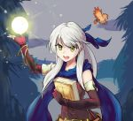 1girl :o bangle bare_shoulders belt bird black_gloves blue_scarf book book_hug boots bracelet dress elbow_gloves energy_ball fingerless_gloves fire_emblem fire_emblem:_radiant_dawn fire_emblem_heroes forest gloves hair_ribbon half_updo highres holding holding_book jewelry long_hair magic micaiah_(fire_emblem) nature open_mouth outdoors poiramee ribbon scarf side_slit silver_hair sleeveless sleeveless_dress solo sothe_(fire_emblem) yellow_eyes yune_(fire_emblem)