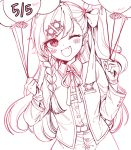 1girl ;d balloon bangs blush bow character_name collared_shirt commentary_request dated eyebrows_visible_through_hair fang girls_frontline gloves hair_between_eyes hair_bow hair_ornament hairclip hands_up highres holding holding_balloon jacket long_hair long_sleeves looking_at_viewer mocohi123 monochrome negev_(girls_frontline) one_eye_closed one_side_up open_mouth shirt signature simple_background skirt smile solo very_long_hair white_background